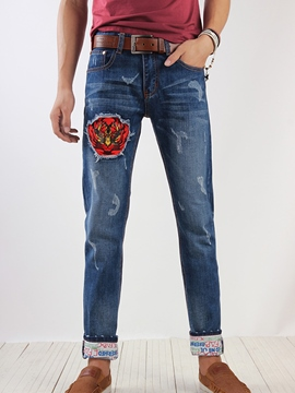 Ericdress Patchwork Worn Denim Men's Jeans