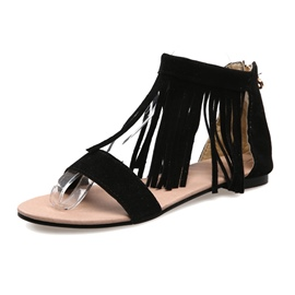 Ericdress Suede Tassels Decoration Flat Sandals