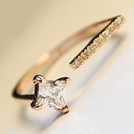 Ericdress Simple Diamante Square Open Ring