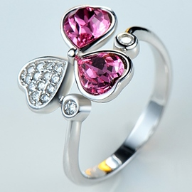 Ericdress Crystal Clover Adjustable Ring