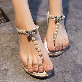 Ericdress Thong Pearl Flat Sandals