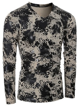 Ericdress Unique Ink Print Long Sleeve Slim Men's T-Shirt