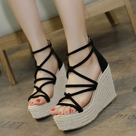 Ericdress Suede Cross Strap Kintting Wedge Sandals