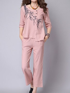 Ericdress Casual Print Blouse Leisure Suits