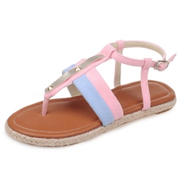 Ericdress Patchwork Thong Ankle Strap Flat Sandals