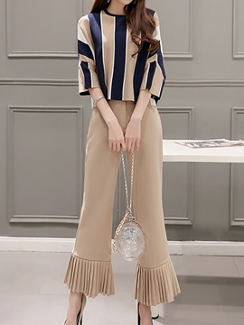 Ericdress Stripped Pleated Suit