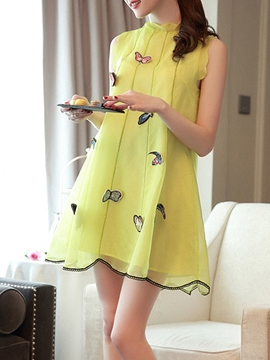 Ericdress Butterfly Embroidery A-Line Casual Dress