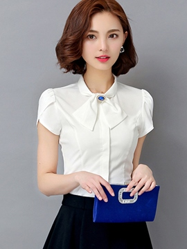 Ericdress Solid Color Slim Bownot Blouse