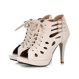 Ericdress Hollow Out Lace up Stiletto Sandals