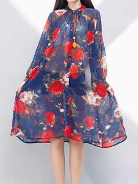 Ericdress Chiffon Expansion Print Casual Dress