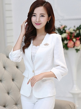 Ericdress Solid Color One Button V-Neck Blazer
