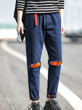 Ericdress Patchwork Holes Casual Men's Jeans