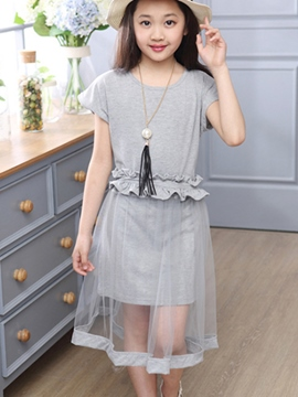 Ericdress Plain Short Sleeve Girls Dress