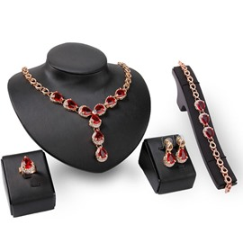 Ericdress Garnet Water Drop Jewelry Set