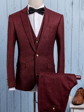Ericdress Three-Piece of Gentlemen Plaid Men's Suit