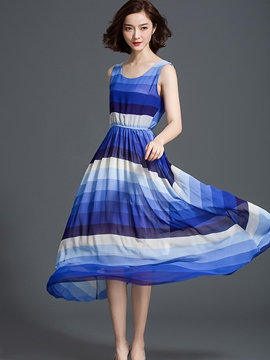 Ericdress Stripe Expansion Round Neck Maxi Dress