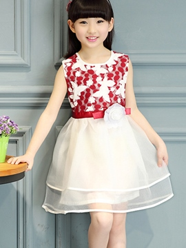 Ericdress Lace Mesh Sleeveless Girls Dress