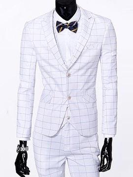 Ericdress Plaid Slim Three-Piece of Men's Suit
