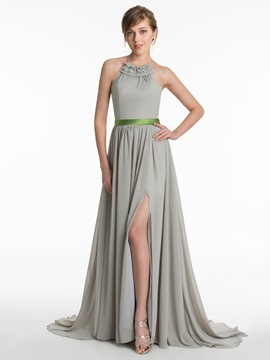 Ericdress Beautiful Halter A Line Chiffon Bridesmaid Dress