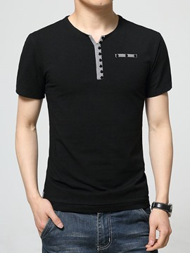 Ericdress V-Neck Button Slim Men's T-Shirt