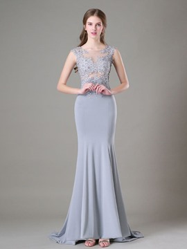 Ericdress Trumpet Scoop Appliques Court Train Evening Dress