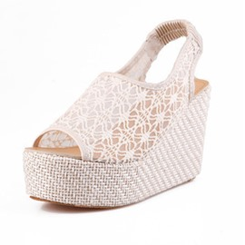 Ericdress Lace Cut Out Peep Toe Wedge Sandals
