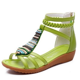 Ericdress Bohemian Zipper Flat Sandals