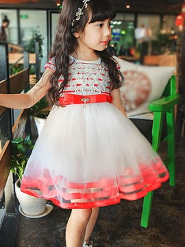 Ericdress Stripe Mesh Girls Dress