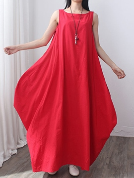 Ericdress Mori Girl Plain Asymmetric Maxi Dress