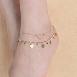 Ericdress Double Layer Heart Design Anklet