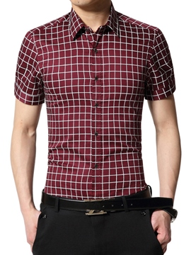 Ericdress Solid Color Plaid Short Sleeve Slim Men's Shirt