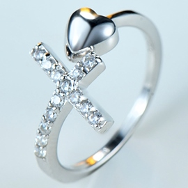 Ericdress Cross Heart Adjustable Silver Ring