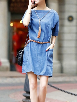 Ericdress Slash Neck Plus Size Denim Casual Dress