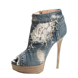 Fashionable Denim Peep-toe Stiletto Heels with Zipper