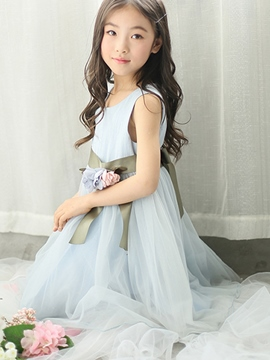 Ericdress Mesh Patchwork Girls Sleeveless Dress