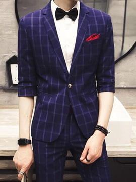 Ericdress Three-Quarter leg Plaid Slim Men's Suit