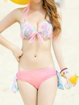 Ericdress Sweet Print Three-Piece of Bikini Suit