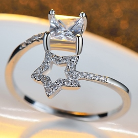 Ericdress Temperament Star Adjustable Open Ring