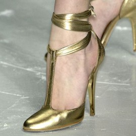 Ericdress Golden T Strap Prom Shoes