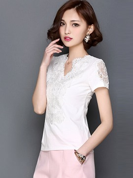 Ericdress Solid Color Lace Patchwork T-Shirt