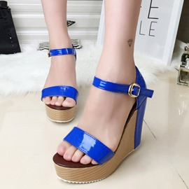 Ericdress Bright Open Toe Buckles Wedge Sandals