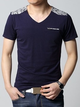Ericdress Short Sleeve Patchwork Slim Men's T-Shirt