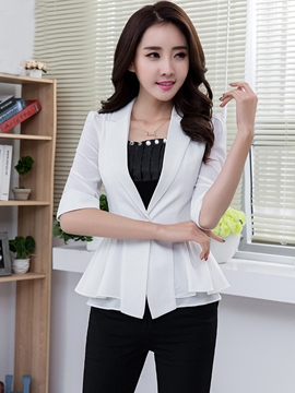 Ericdress Elegant Solid Color Frill Blazer