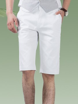 Ericdress White Half Straight Slim Men's Shorts