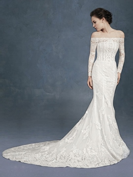 Ericdress Beautiful Off The Shoulder Lace Mermaid Wedding Dress With Sleeves