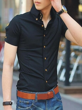 Ericdress Solid Color Single-Breasted Slim Men's Shirt