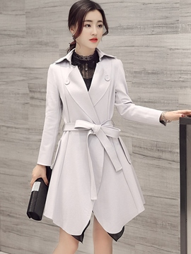 Ericdress Elegant Solid Color Lace-Up Trench Coat