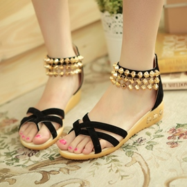 Ericdress Suede Rivets Flat Sandals