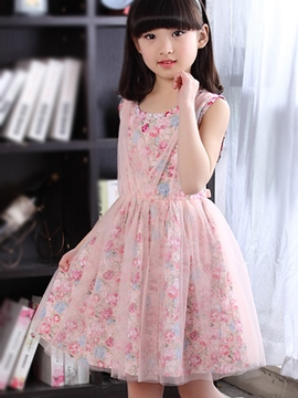 Ericdress Floral Print Mesh Sleeveless Girls Dress