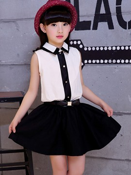 Ericdress Sleeveless Lapel Girls Dress